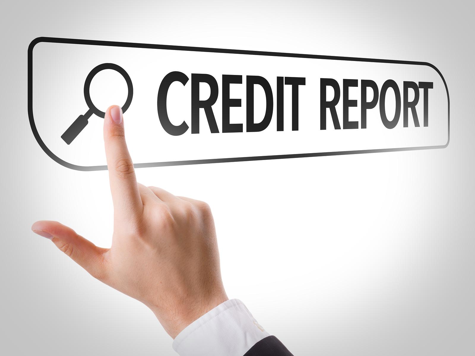 Credit Report written in search bar on virtual screen